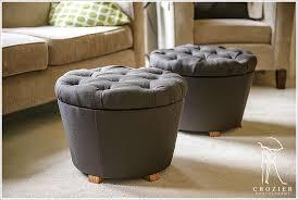 gorgeous ikea storage ottoman bench with grey fabric tufted