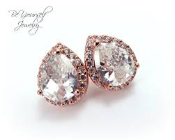 teardrop stud earrings gold bridal earrings cubic zirconia teardrop stud earrings