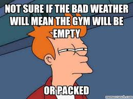 Bad Weather Meme - sure if the bad weather will mean the gym will be empty