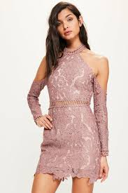 cold shoulder dress pink lace cold shoulder bodycon dress missguided