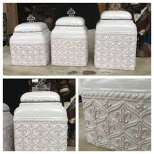 beige fleur de lis ceramic kitchen canisters set 3 by canister sets canisters fleur de lis kitchen 82 best fleur de lis