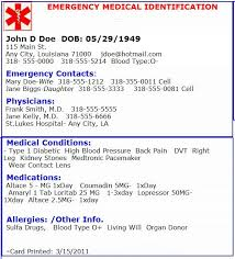 emergency medical card emergency preperation pinterest card