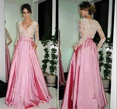 elegant a line v neck prom dresses long sleeve evening dresses