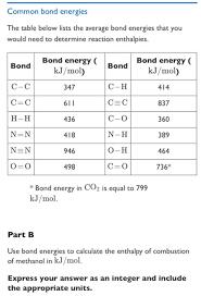 Bond Energies Table Chemistry Archive June 26 2017 Chegg Com