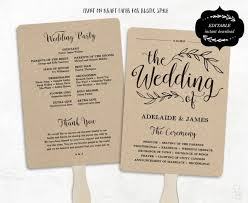 wedding program design template printable wedding program template fan wedding program kraft