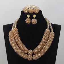 wholesale beaded necklace images Wholesale gold jewelry set gold bridal necklace set handmade jpg
