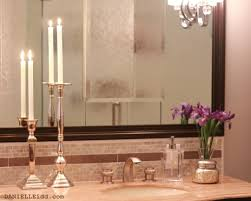 bathroom design large wall mirror with marble countertop and