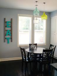 seeded glass pendant kitchen farmhouse with wooden letters