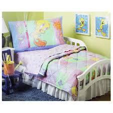 Purple Toddler Bedding Set Looney Tunes Tweety Bird Flowery Pink And Purple Toddler Bed Set