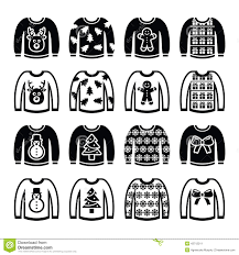 ugly sweater clipart black and white