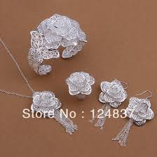 silver bridal necklace set images 925 silver wedding bracelet earrings ring necklaceset set jpg