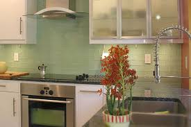 Subway Tile Backsplash In Kitchen Green Subway Tile Backsplash White Solid Countertop Bottom Freezer