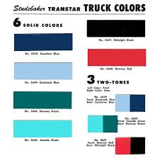 studebaker color charts