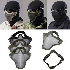 diamond tactical full face protection ghost balaclava mask half lower face metal steel net mesh hunting tactical protective