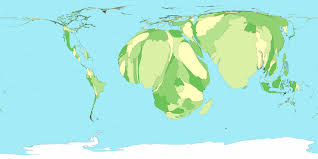 cartogram map images of the social and economic