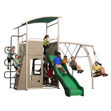 amazon com backyard discovery castle grey metal swing set and