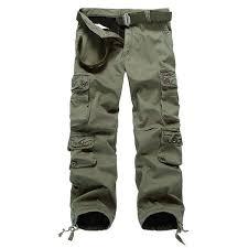 mens thick outdoor multi pockets polar fleece lined cotton cargo