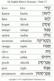 Hebrew Worksheets To Hebrew Food Fruit Vocabulary Kiwi Lemon Lime