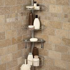 stainless steel corner shower caddy with four racks connected by