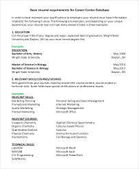 Basic Sample Of Resume by Basic Resume Sample 8 Examples In Pdf Word