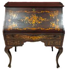 Small Drop Front Secretary Desk by Italian Style Marquetry Secretary Desk With Inlaid Mother Of Pearl