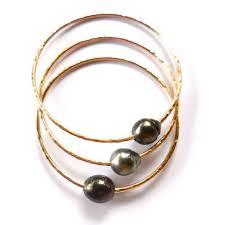 pearl bangle bracelet images Tahitian pearl bangle gold hammered bracelet hawaii beach jpg