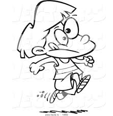 vector of a cartoon running track coloring page outline by