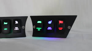 lighted dash switches in green blue orange white and red