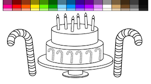 learn colors for kids and color candy cane christmas cake coloring