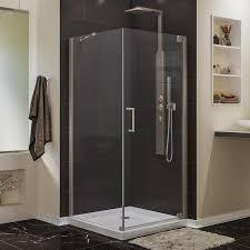 Dreamline Shower Doors Frameless Shop Dreamline Elegance 32 In To 32 In W Frameless Brushed Nickel