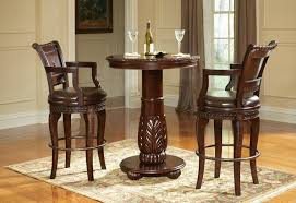 rustic pub table set brown leather upholstered chairs x base glass