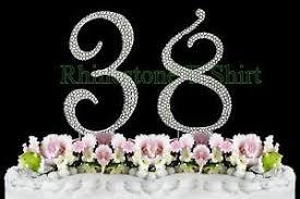 38th wedding anniversary large rhinestone number 38 cake topper 38th birthday wedding