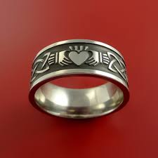claddagh rings titanium celtic claddagh ring clasping a heart band