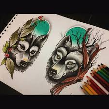 neotraditional wolf design