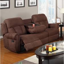 Reclining Sofa Microfiber by Recliner Sofa W Cup Holders Chocolate Microfibe 3 Seater Only