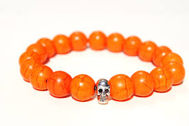 halloween charm bracelets made for men orange skull boybeads bracelets for halloween