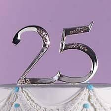 25th anniversary cake toppers wilton 25th wedding anniversary cake topper silver retirement