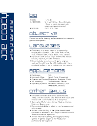 Resumes Templates For Mac Office Game Developer Resume Resume For Your Job Application