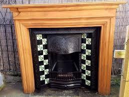 edwardian period cast iron tiled insert open fire fireplace