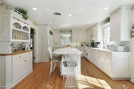 White Island Kitchen Kitchen In Suburban Home With White Island Stock Photo Picture