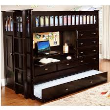 Desk Storage Drawers Solid Wood Twin Size Loft Bed With Desk In Dark Cappuccino
