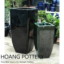 glazed ceramic pots square black glazed ceramic pots garden decor hptv062 hoang