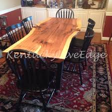 custom made industrial dining table live edge hickory slab dining