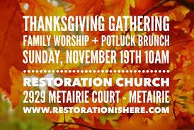 thanksgiving gathering this sunday restoration church