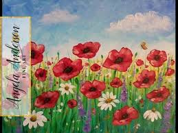 Vase With Red Poppies Easy Poppy Field Painting Time Lapse Acrylic Tutorial Free
