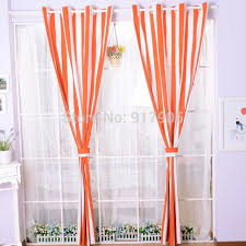 Sheer Curtains Orange Fashion Orange And White Striped Sheer Curtains For Living Room