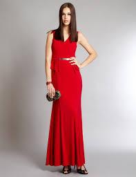 tavora red jersey evening maxi dress