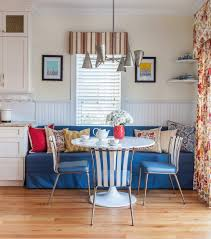 built in banquette dining room farmhouse with dining bench
