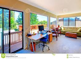 home office and living room house interior with balcony view