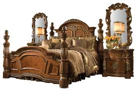 Victorian Bed Set by 4 Piece Villa Valencia California King Size Low Post Bedroom Set